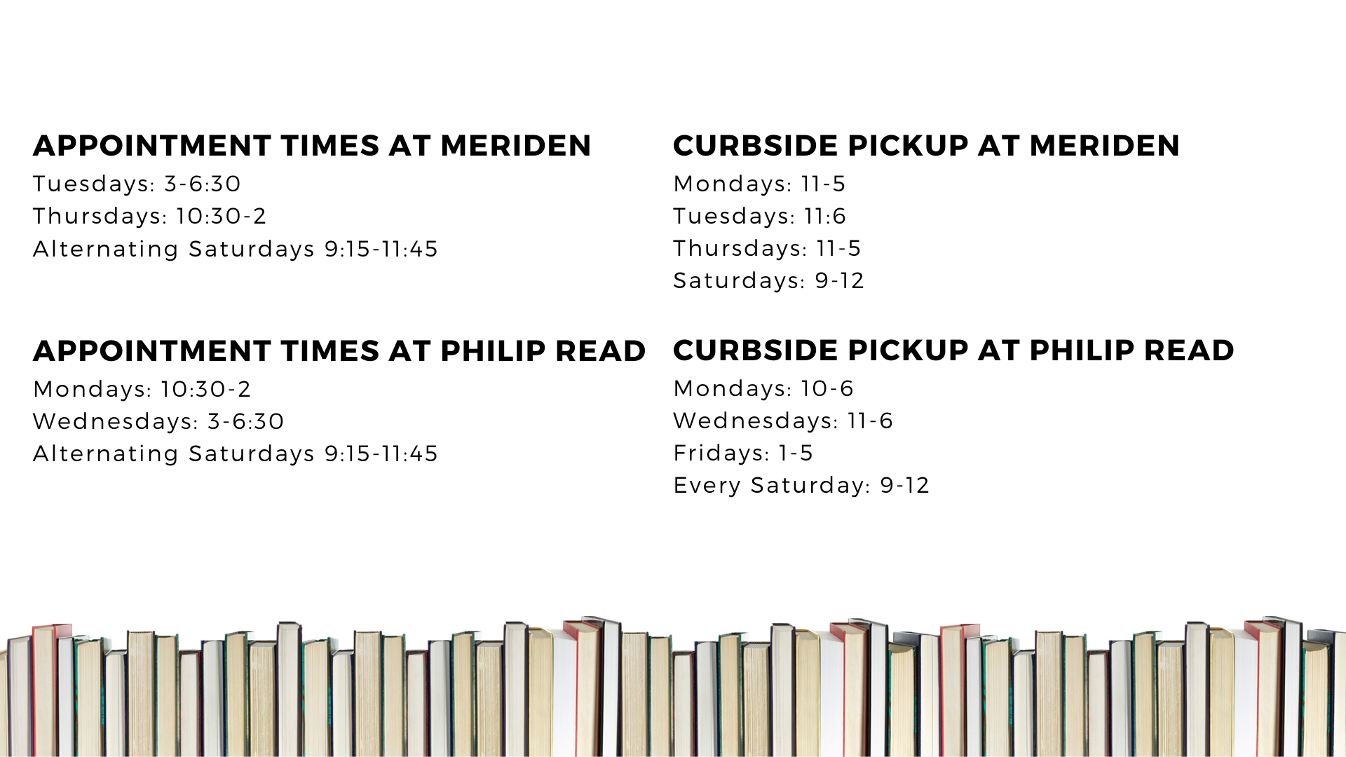 appointment and curbside pickup times